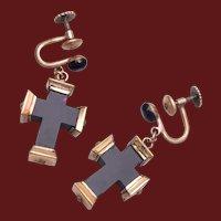 Sterling and Onyx Cross Earrings