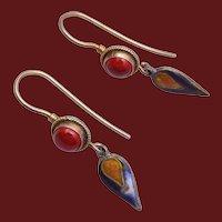 Pierced Carnelian and Sterling Earrings with Enameled Drop