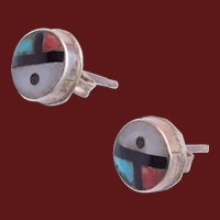 Inlaid Coral, Turquoise and Mother of Pearl Zuni Pierced Earrings