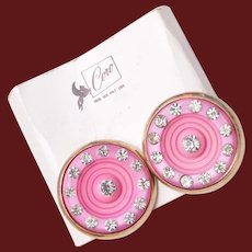 Coro Pink Plastic and Rhinestone Earrings on Original Card
