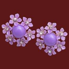 Purple Plastic Flower Earrings
