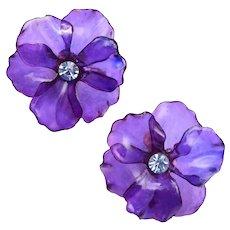 Beautiful Lightweight Purple Resin Flower Earrings