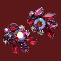 Regency Red Molded Glass Leaf Earrings