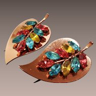 Pair Coro Sterling Rose Gold Vermeil Fur Clips