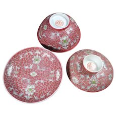 Set Vintage Chinese Ruby Red Rice Bowl with Matching Saucer