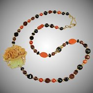Jade, Cloisonne, Red Jasper Necklace