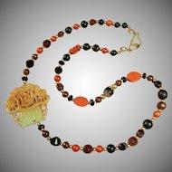 Jade, Cloisonne, Red Jasper Necklace