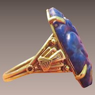 Lampl 14k Gold and Lapis Art Deco Ring