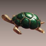 18K Italy Enamel Turtle Brooch