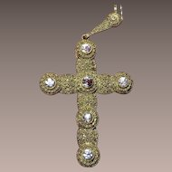 Huge Theodor Fahrner Silver Cross Pendant Necklace