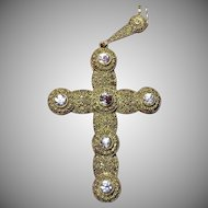 "Huge 4"" Theodor Fahrner Silver Cross Pendant Necklace"