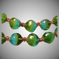 Art Glass Necklace in Greens and Blues