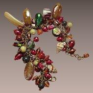 Art Glass Bracelet Jewel Tones