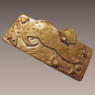 Deborah Roberts  Figural Brass Cat Brooch
