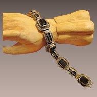 Sterling Onyx Marcasite Vintage Bracelet