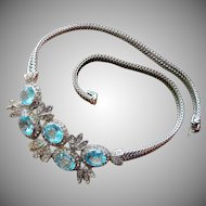 Stunning Castlecliff Aquamarine Blue Necklace