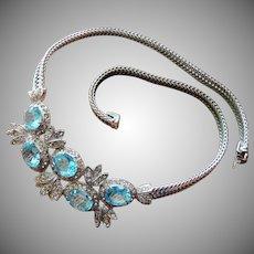 Stunning Castlecliff Aquamarine Blue Necklace