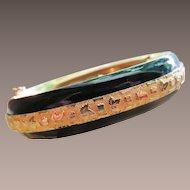 Sandor Enamel Floral Hinged Black and Gold Plated Bracelet