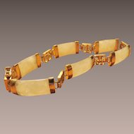 Chinese Mutton Fat Jade and Sterling LInk Bracelet