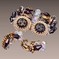 Gorgeous Hobe Set Bracelet and Earrings - pre 1955
