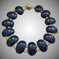 Stunning and Bold deLillo Deep Navy Necklace