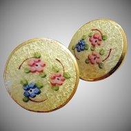 Vintage Yellow Guilloche Enamel Earrings