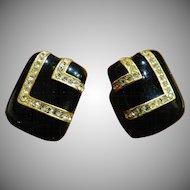 Ciner Black and Gold Rhinestone Earrings