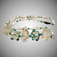 Unusual Green Art Glass and Crystal Necklace