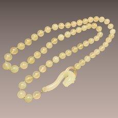 Vintage Jade Necklace with Dragon Buckle