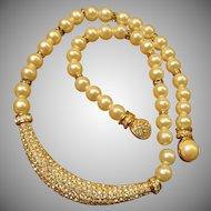 Henkel Grosse Crystal Faux Pearl Necklace