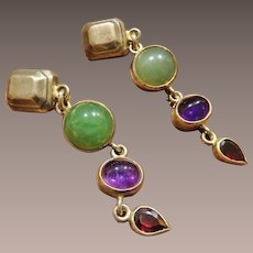 Signed Sterling and Gemstone Earrings