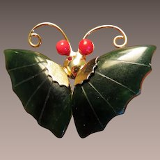 Jade Butterfly Figural Brooch or Pendant
