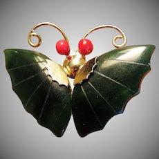 Jade Butterfly Figural Brooch or Pendant