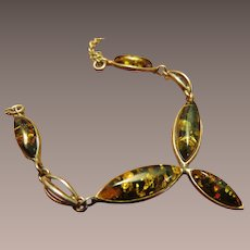 Baltic Green Amber Sterling Necklace