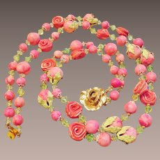 So Pretty!  Pink Rose 2 Strand Necklace
