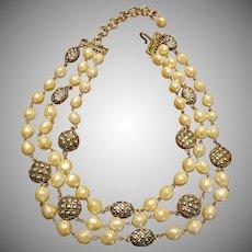 Joan Rivers Triple Strand Faux Pearl Necklace