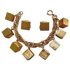 Fabulous Napier Geometric Bracelet and Earrings Set - pre 1955