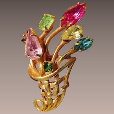 Multi Color Rhinestone Flower Basket Brooch