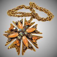 Florenza Orange Art Glass Maltese Cross Necklace
