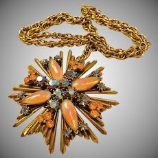 Florenza Orange Art Glass Maltese Cross Necklace