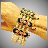 Vintage Indian Kundan Enamel Bracelet