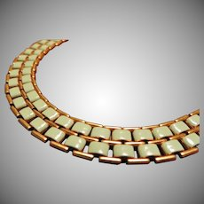 Early Lisner Green Enamel Necklace
