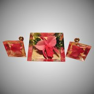 Set Reverse Painted and Carved Lucite Floral Brooch and Earrings