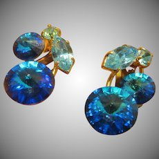 Blue Rivoli Austria Crystal Earrings