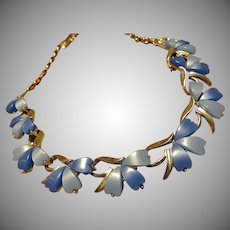 Vintage Blue Thermoset Necklace Marked PLM