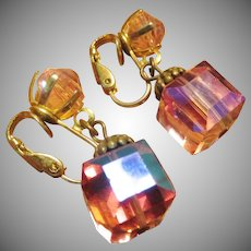 Beautiful Pink Crystal Cube Shaped Earrings