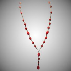 Lipstick Red Vintage Lavalier Necklace