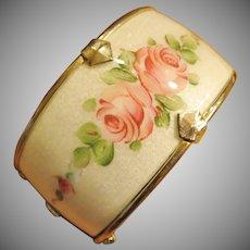 Vintage Wide Guilloche Enamel Hinged Bracelet
