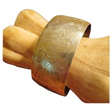 Antique Sterling Hand Etched Cuff Bracelet
