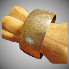 Antique Sterling Hand Etched Cuff Bracelet